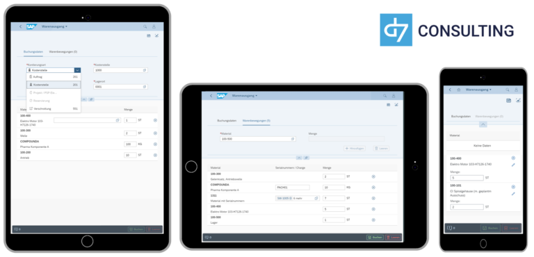 d7 SAP SAPUI5 App Mobile Material Goods Issue SAP MM microservice