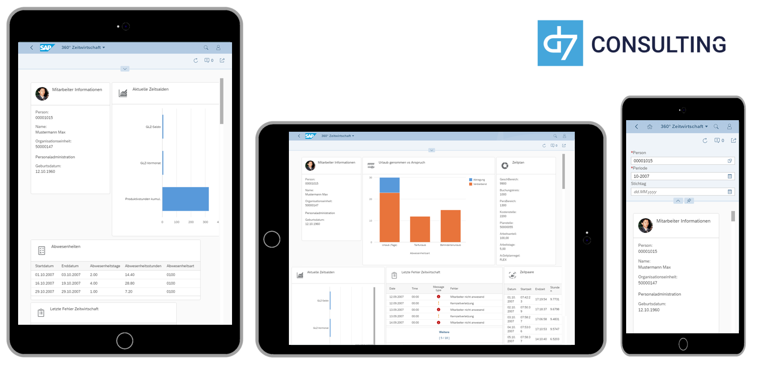 d7 SAP SAPUI5 App Mobile Dashboard Time evaluation results SAP HCM microservice