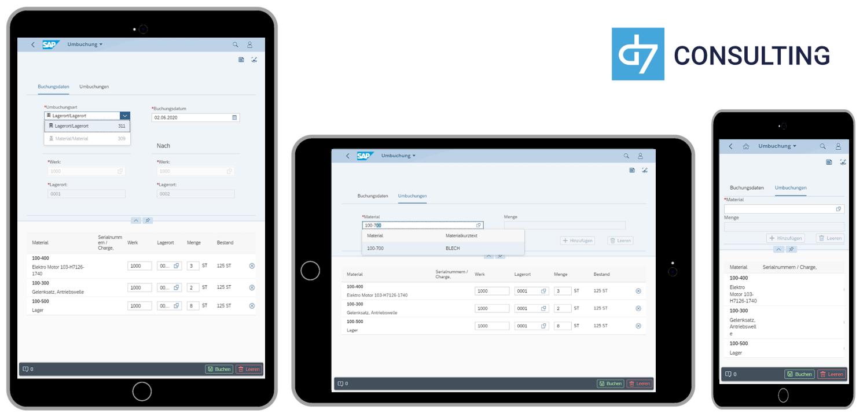 d7 SAP SAPUI5 App Mobile Material transfer posting SAP MM microservice