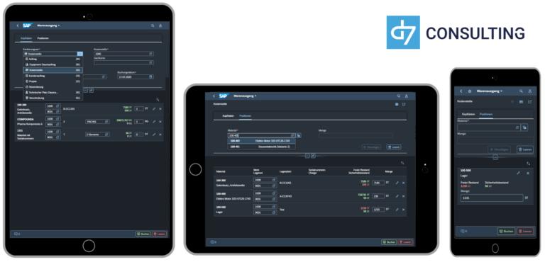 d7 SAP SAPUI5 App Mobile Material Goods Issue SAP MM microservice Fiori 3.0 Dark Theme