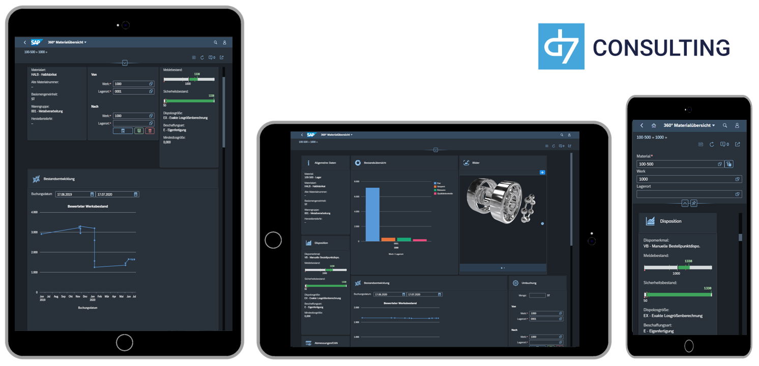 d7 SAP SAPUI5 App Mobile Material Overview SAP MM microservice Fiori 3.0 Dark Theme