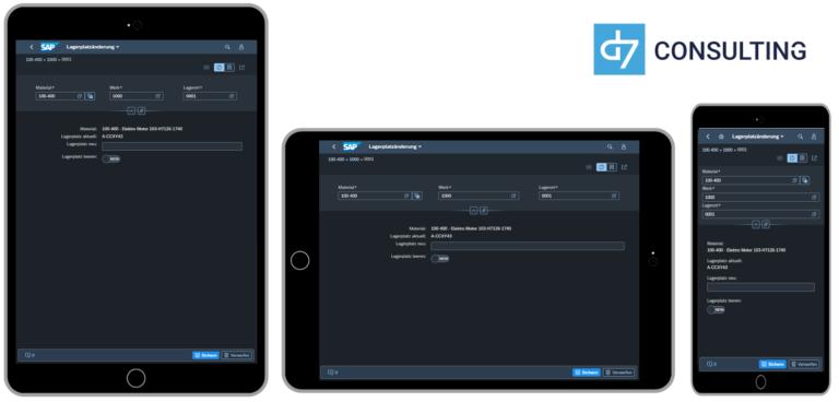 d7 App Mobile Material Storage Bin Change SAP MM microservice Fiori 3.0 Dark Theme