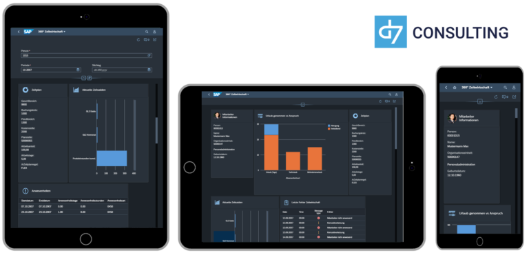 d7 SAP SAPUI5 App Mobile Dashboard Time evaluation results SAP HCM microservice Fioir 3.0 Dark Theme