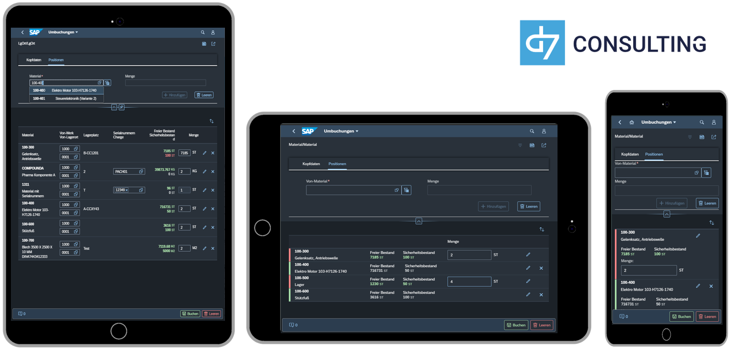 d7 SAP SAPUI5 App Mobile Material transfer posting SAP MM microservice Fiori 3.0 Dark Theme