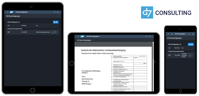 d7 App HR Bescheinigungen Fiori 3.0 Dark Theme