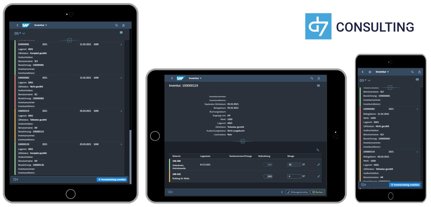 d7 SAPUI5 App: Mobile Inventur für SAP MM Fiori 3 Dark Theme