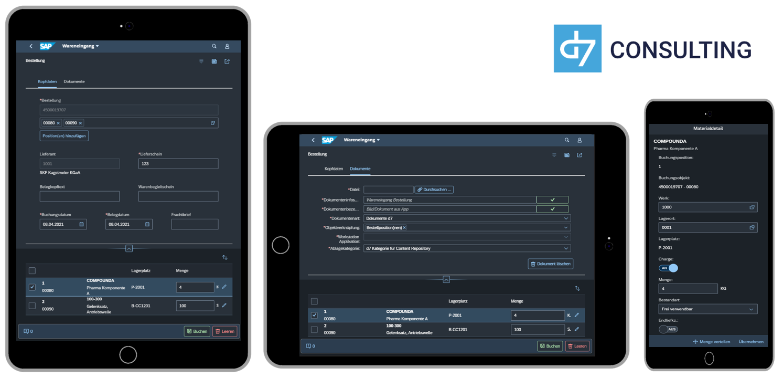 d7 App Wareneingang Fiori 3.0 Dark Theme
