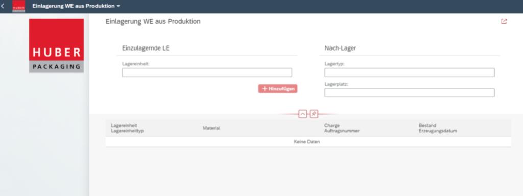 Neue SAPUI5 Apps in SAP WM für das Lager bei HUBER Packaging